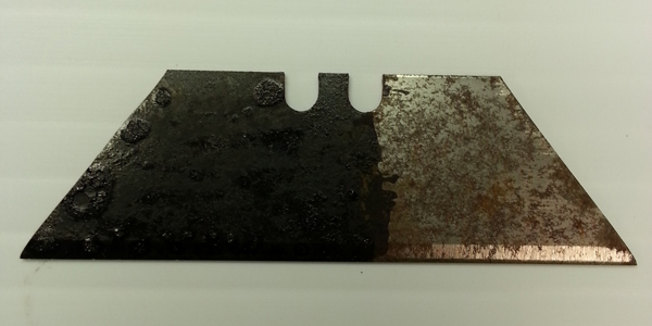 RUSTZILLA rust remover - razor blade before and after