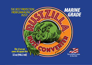 RustZilla rust remover converter Marine Grade 32 oz label - buy now!