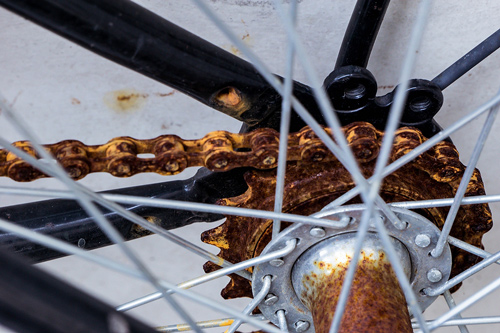Use Rustzilla rust converter to rescue rusty chains on bicycles.